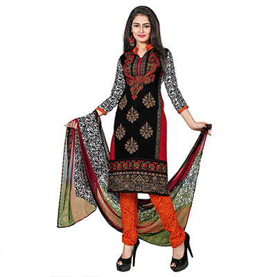 Black - Multicolored Printed Salwar Suit