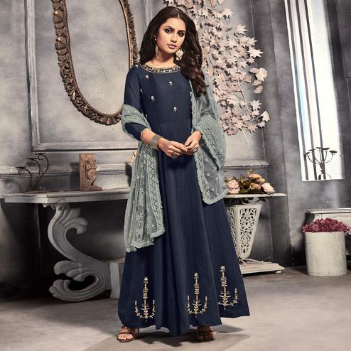 Beautiful Navy Blue Colored Party Wear Embroidered Viscose Long Kurti With Dupatta