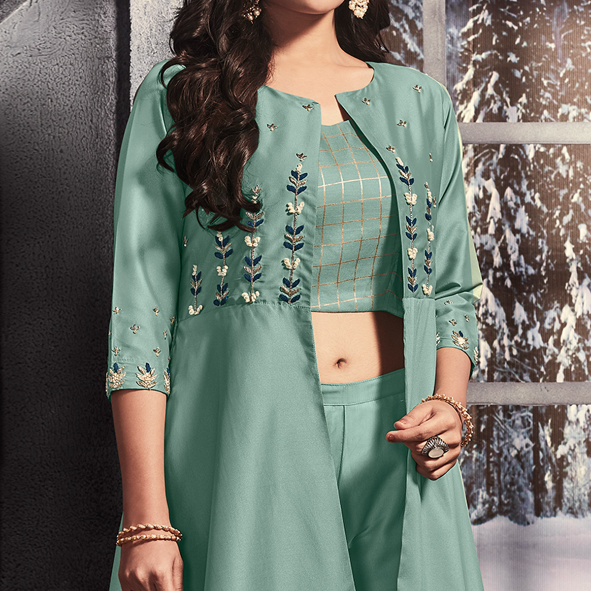 Graceful Turquoise Green Colored Party Wear Embroidered Satin Jacket Style Kurti-Pant Set
