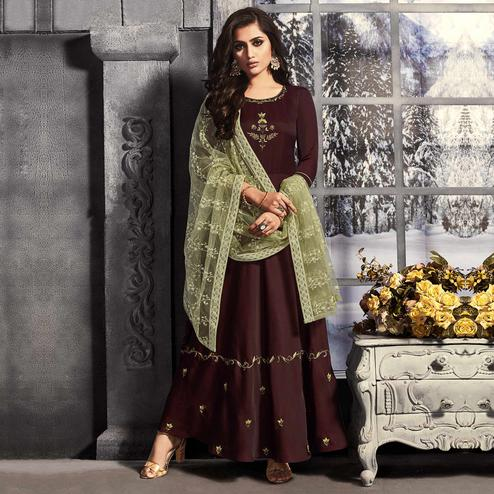 Blooming Dark Maroon Colored Party Wear Embroidered Satin Long Kurti With Dupatta