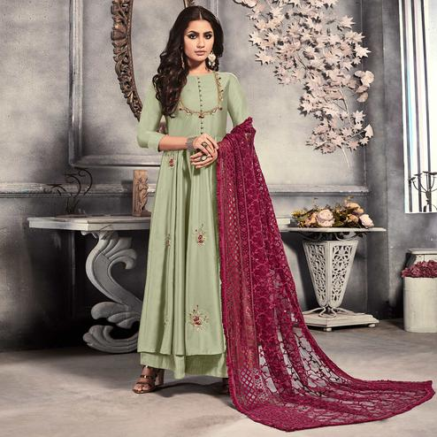 Charming Light Pista Green Colored Party Wear Embroidered Satin Long Kurti With Dupatta