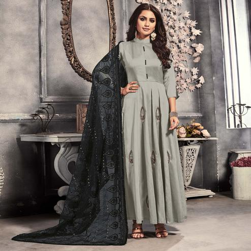 Jazzy Light Grey Colored Party Wear Embroidered Satin Long Kurti With Dupatta