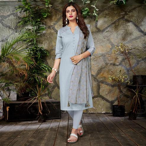 Intricate White Colored Casual Wear Cotton Kurti With Dupatta