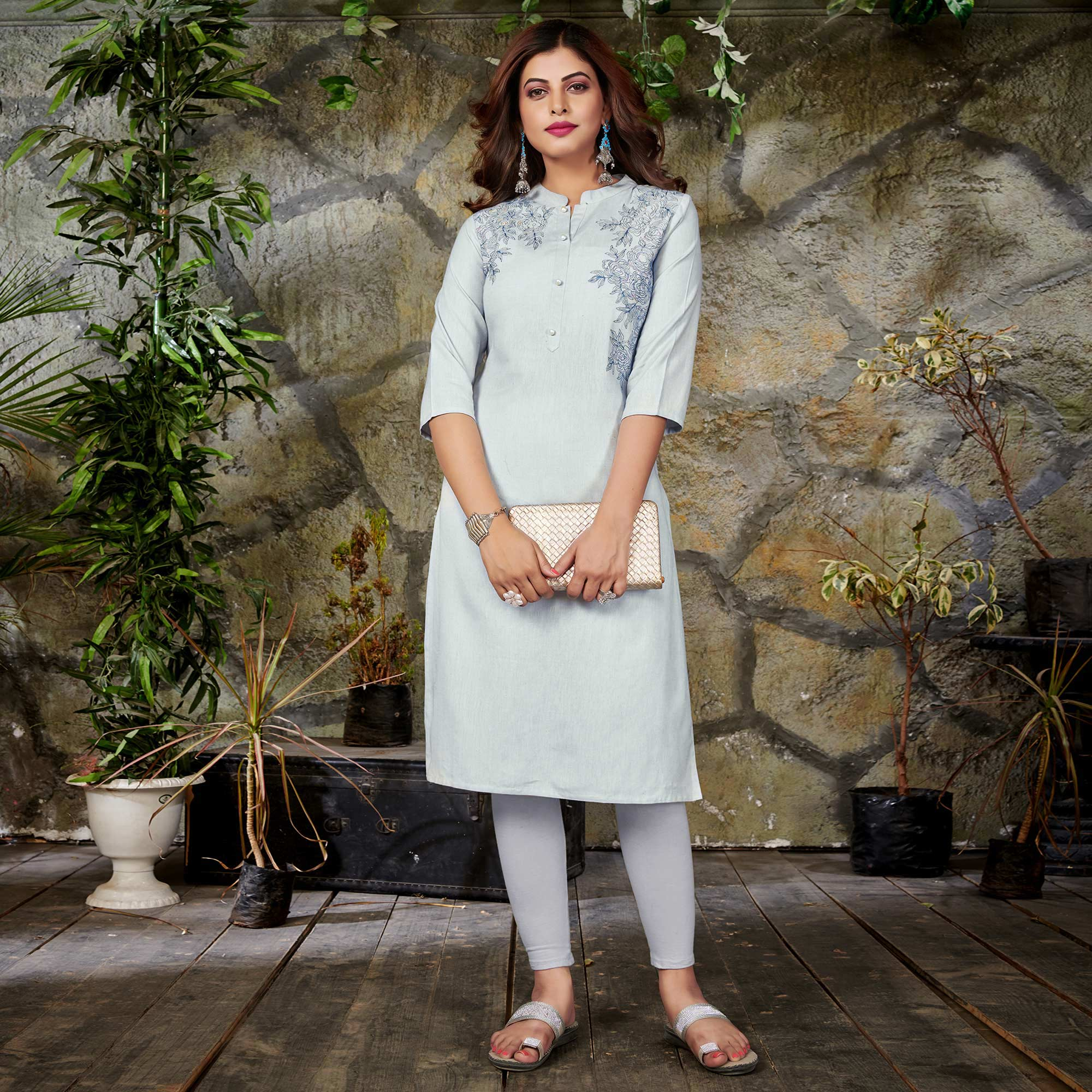 Desirable White Colored Casual Floral Printed Cotton Kurti