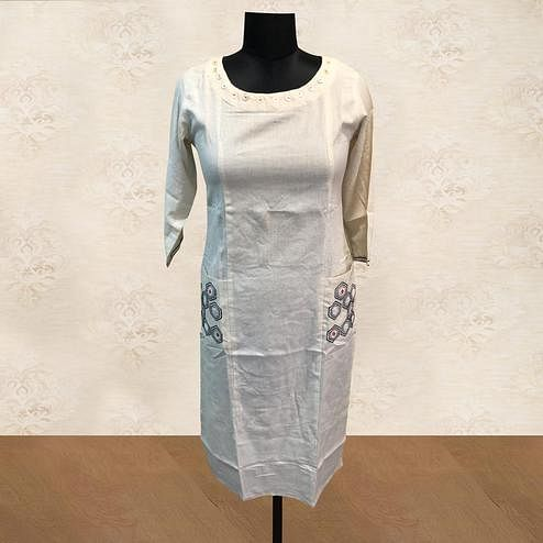Exotic White Colored Casual Wear Pocket Style Cotton Kurti
