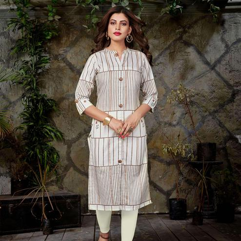 Sophisticated Off White Colored Casual Printed Cotton Kurti