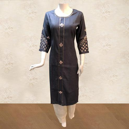Trendy Navy Blue Colored Partywear Floral Embroidered Cotton Kurti-Palazzo Set