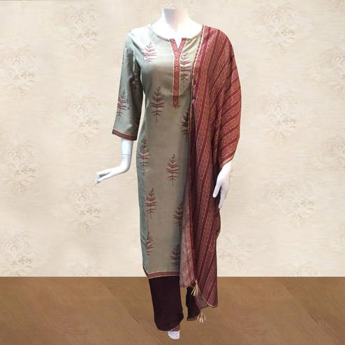 Elegant Grey Colored Casual Printed Stitched Cotton Palazzo Suit