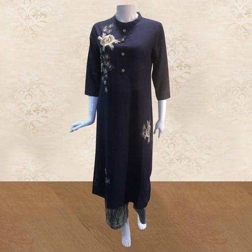 Radiant Navy Blue Colored Partywear Embroidered Cotton Kurti-Palazzo Set