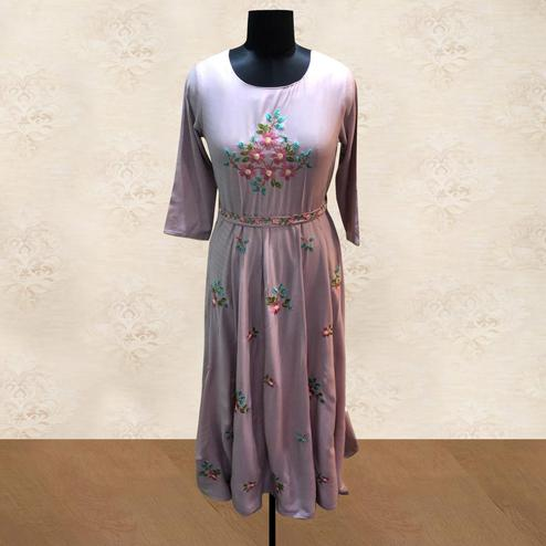Pleasant Light Purple Colored Partywear Floral Embroidered Cotton Long Kurti