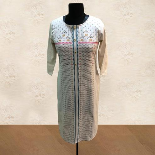 Opulent White Colored Casual Printed Cotton Kurti