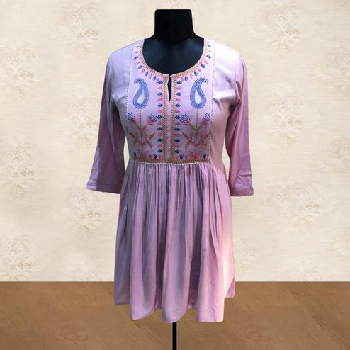 Exceptional Light Purple Colored Partywear Embroidered Cotton Short Kurti