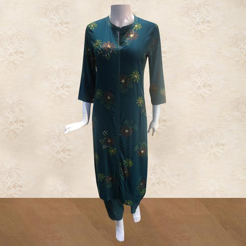 Gleaming Blue Colored Casual Floral Printed Cotton Kurti-Pant Set