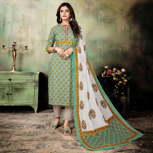 Mesmeric Aqua Blue Colored Casual Floral Printed Stitched Cotton Suit