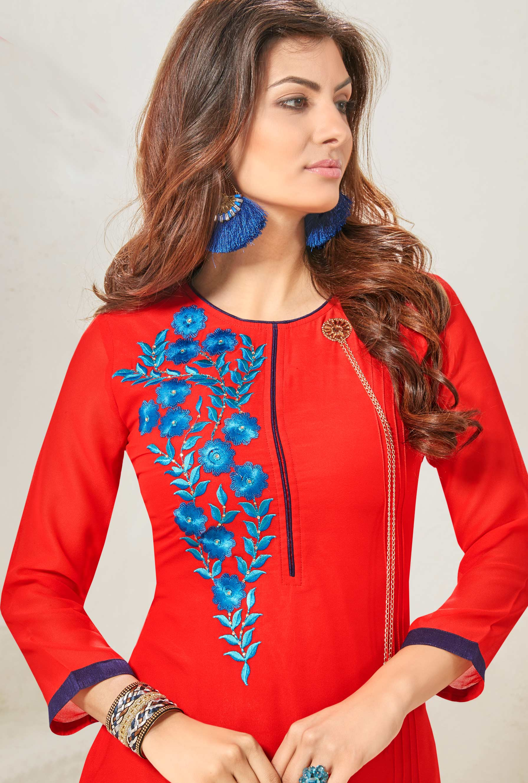 Red Embroidered Work Georgette Kurti