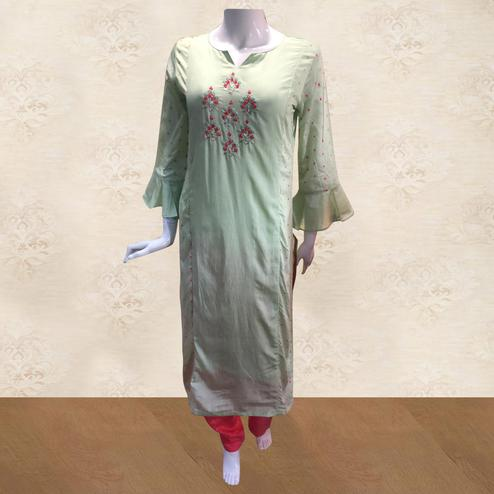 Unique Mint Green Colored Partywear Floral Embroidered Cotton Kurti-Pant Set