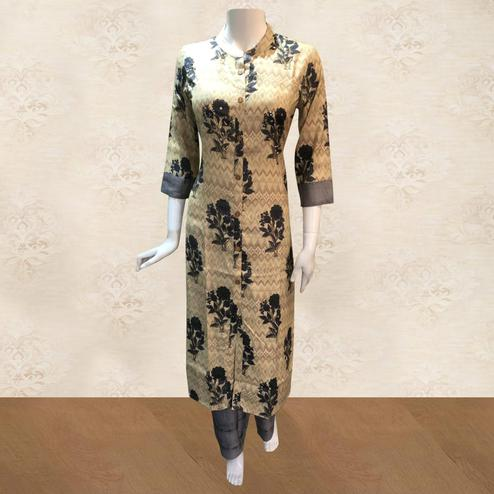 Refreshing Beige Colored Partywear Floral Printed Cotton Kurti-Palazzo Set