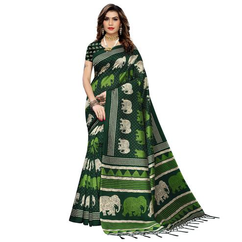 Intricate Green Colored Casual Elephant Printed Art Silk Saree With Tassels