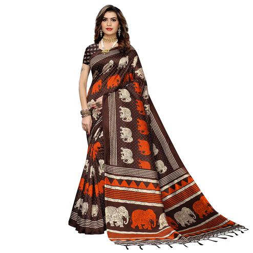 Arresting Brown Colored Casual Elephant Printed Art Silk Saree With Tassels