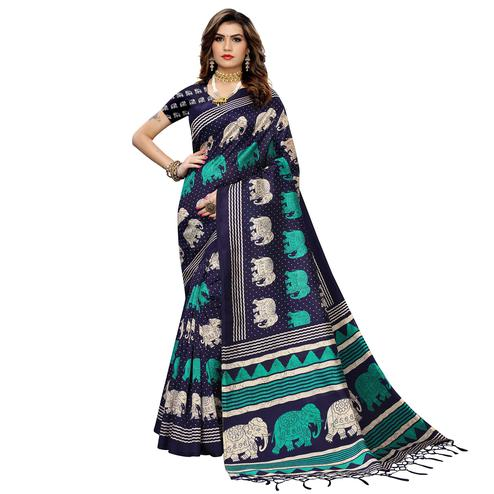 Desirable Navy Blue Colored Casual Elephant Printed Art Silk Saree With Tassels