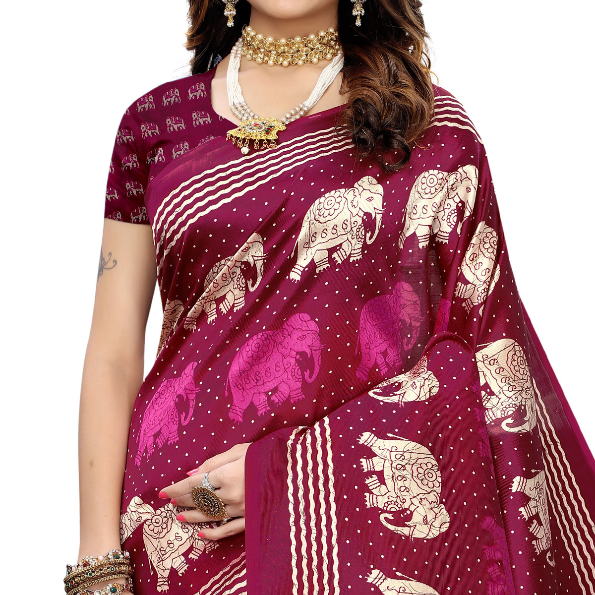 Exotic Magenta Pink Colored Casual Elephant Printed Art Silk Saree With Tassels