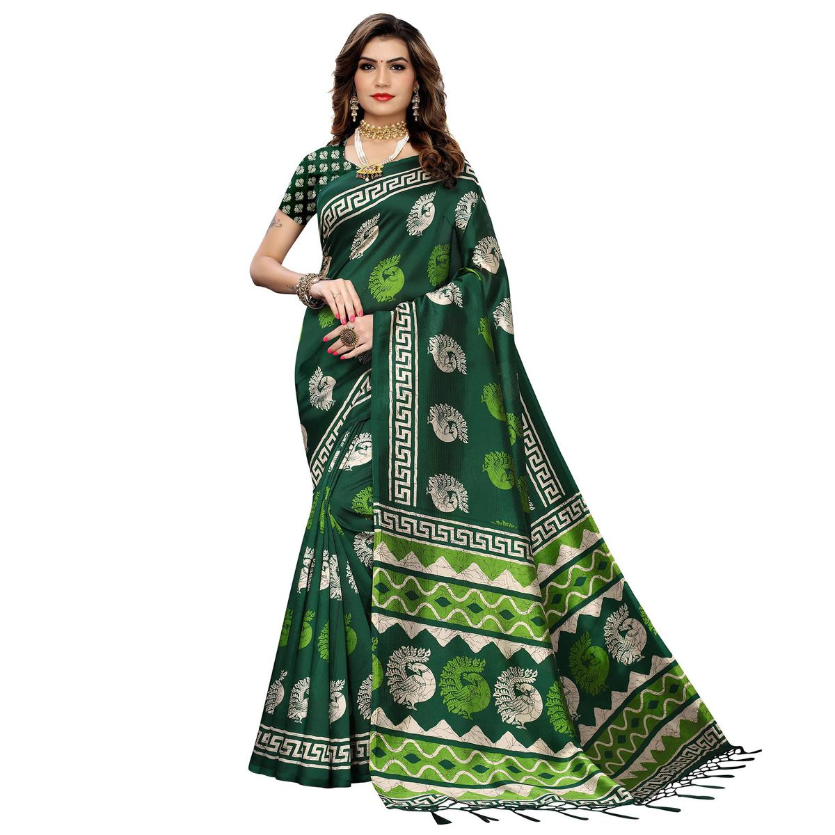 Pleasant Green Colored Casual Peacock Printed Art Silk Saree With Tassels