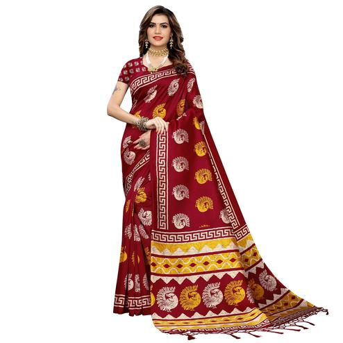 Elegant Maroon Colored Casual Peacock Printed Art Silk Saree With Tassels