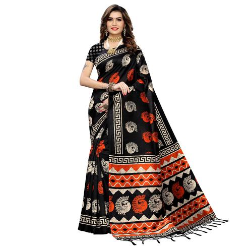 Radiant Black Colored Casual Peacock Printed Art Silk Saree With Tassels
