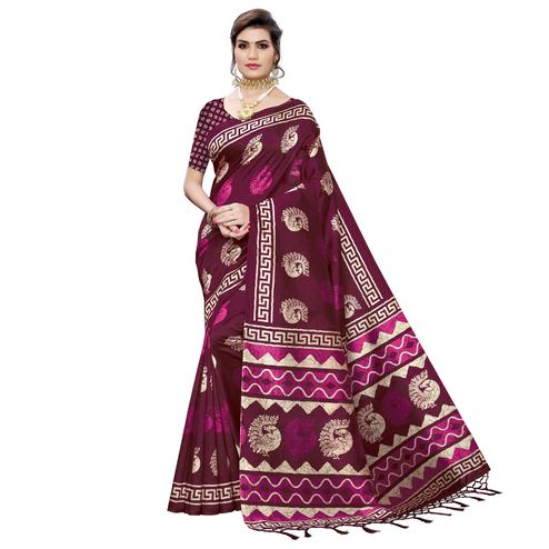 Trendy Wine Colored Casual Peacock Printed Art Silk Saree With Tassels