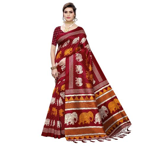 Elegant Maroon Colored Casual Elephant Printed Art Silk Saree With Tassels