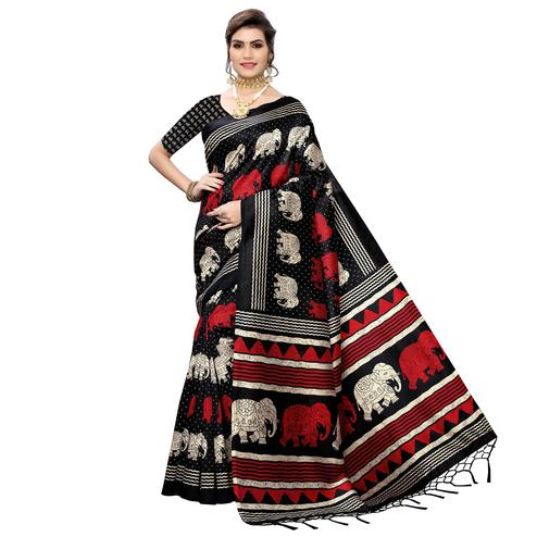 Radiant Black Colored Casual Elephant Printed Art Silk Saree With Tassels