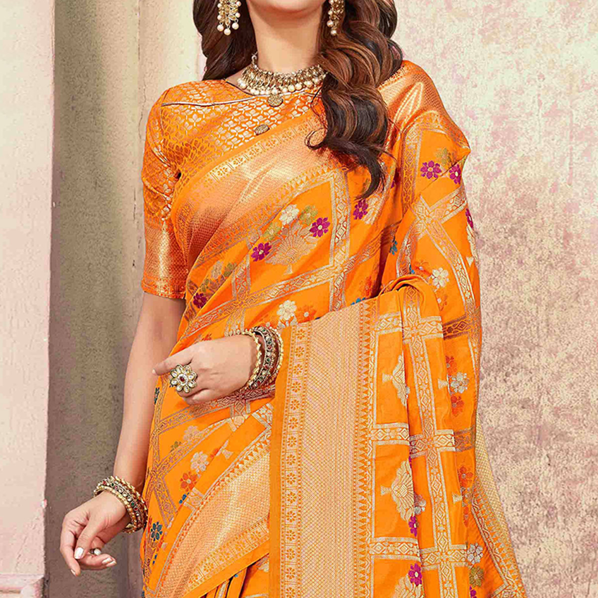 Desirable Orange Colored Festive Wear Woven Cotton Silk Saree