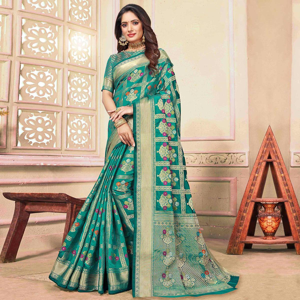 Exotic Turquoise Green Colored Festive Wear Woven Cotton Silk Saree