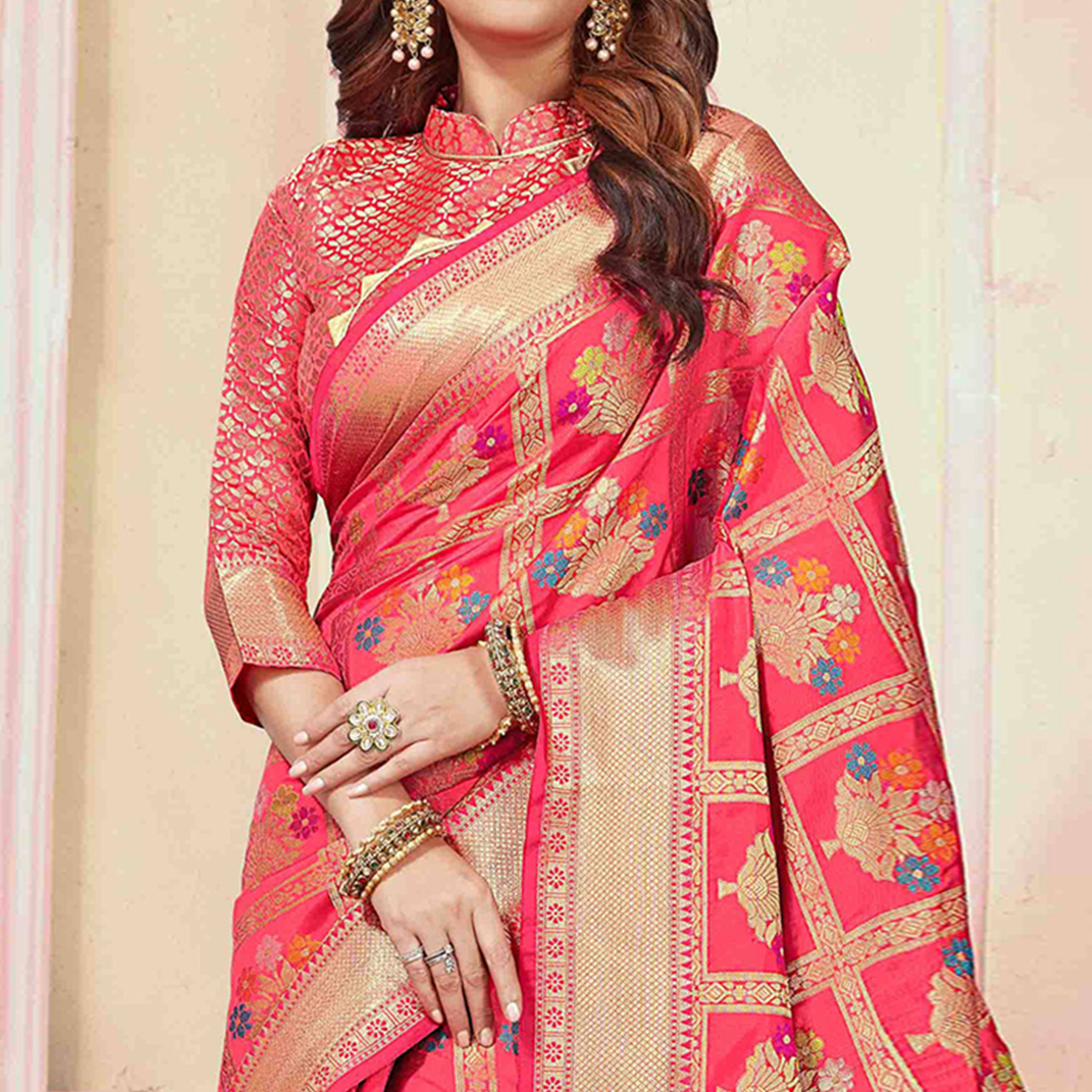 Sophisticated Pink Colored Festive Wear Woven Cotton Silk Saree