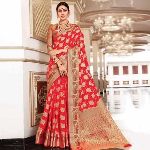 Refreshing Red Colored Festive Wear Woven Silk Saree