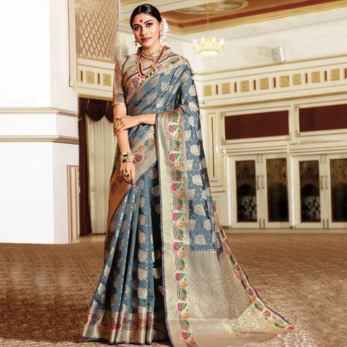 Magnetic Grey Colored Festive Wear Woven Silk Saree