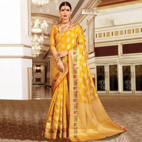 Hypnotic Mustard Yellow Colored Festive Wear Woven Silk Saree