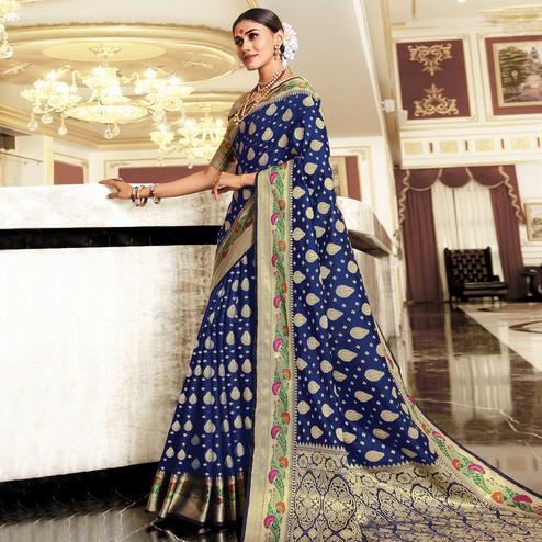 Preferable Blue Colored Festive Wear Woven Silk Saree