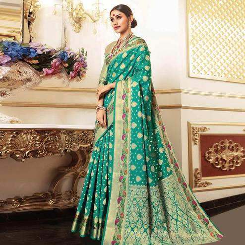 Marvellous Rama Green Colored Festive Wear Woven Silk Saree