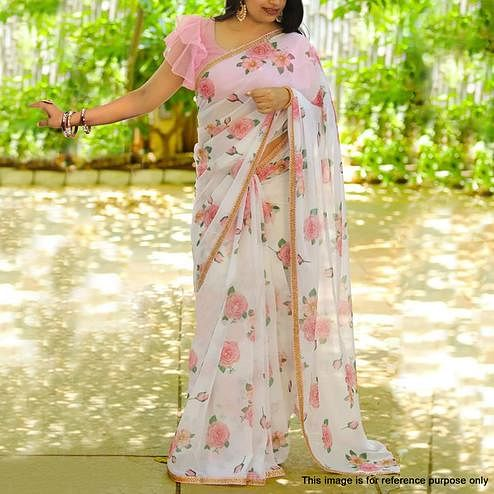 Adorning White Colored Partywear Floral Digital Printed Georgette Saree