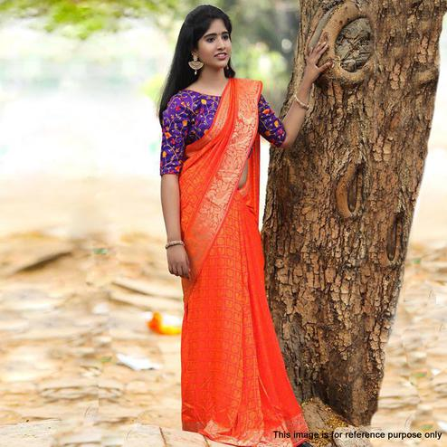 Exclusive Dark Orange Colored Festive Wear Woven Jacquard Saree