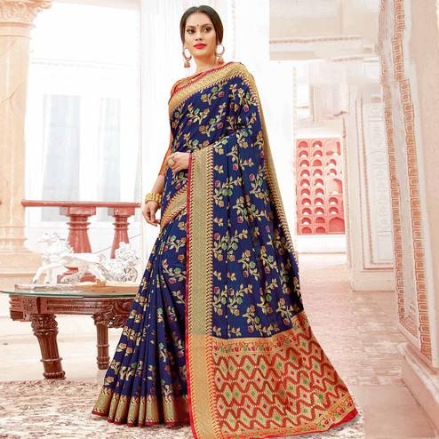Alluring Navy Blue Colored Festive Wear Woven Banarasi Silk Saree