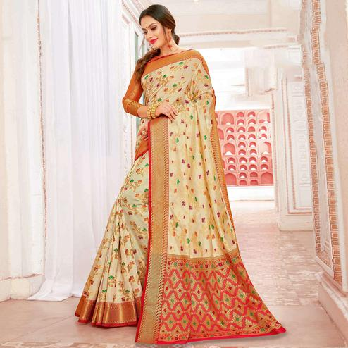 Flaunt Cream Colored Festive Wear Woven Banarasi Silk Saree