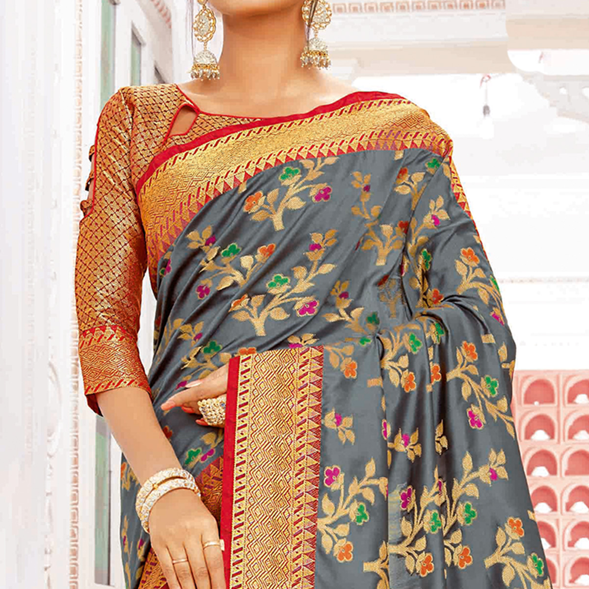 Stunning Grey Colored Festive Wear Woven Banarasi Silk Saree