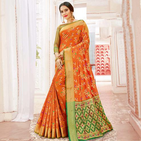 Flirty Orange Colored Festive Wear Woven Banarasi Silk Saree
