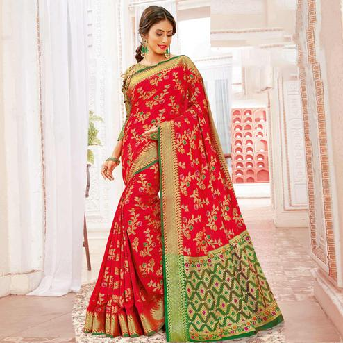 Ethnic Red Colored Festive Wear Woven Banarasi Silk Saree