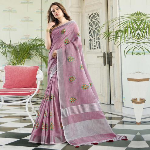 Glorious Pastel Purple Colored Party Wear Floral Embroidered Linen-Cotton Saree With Tassels