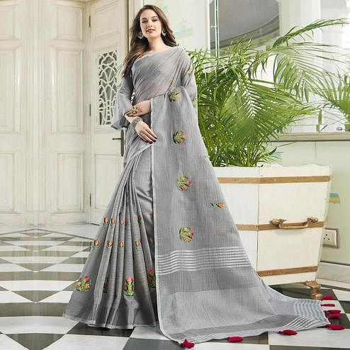Exotic Grey Colored Party Wear Floral Embroidered Linen-Cotton Saree With Tassels