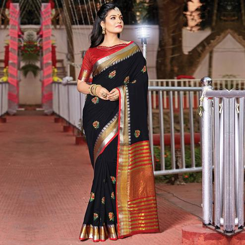 Opulent Black Colored Festive Wear Woven Cotton Silk Saree