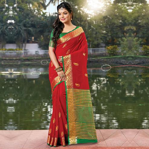 Energetic Red Colored Festive Wear Woven Cotton Silk Saree